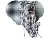 Eyan - Large Cardboard Elephant Head - Houndstooth Print