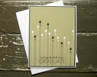 congratulations graduate with black and white flowers - Handstamped Greeting Card