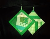POT HOLDERS (#22) Bright Greens Scrappy, String, Crazy Quilt Design, Pair, Spring  US Made, Americana, Patchwork, Modern, Contemporary, ,