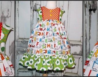 Green Eggs & Ham Dr. Seuss Cap Sleeve Dress 2 3 4 5 6 7 8 10 Custom Boutique Handmade Sam I Am Universal Studios