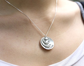 Mothers Hand Stamped Jewelry -  Personalized Sterling Silver Necklace - Three Domed Pendants