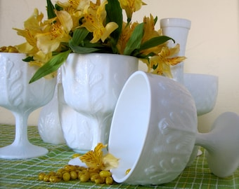 Set of 7 Milk Glass mix of matching fern patterened vases and compotes