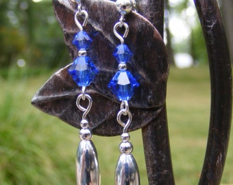 Blue Swarovski Sterling Silver Earrings