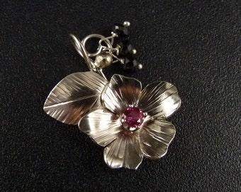 Blackberry Blossom Sterling Silver Pendant Handmade Metalwork