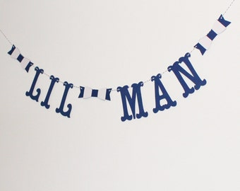 Lil Man - Little Man Baby Shower Banner with Bow Ties- Baby Shower Decoration or Photo Prop