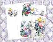 Easter Cards w/Stickers,  Lamb & Flowers, Easter Greetings