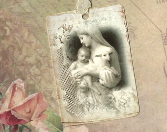 Tags, Mother & Child, Religious, Gift Tags, Religious Tags, Madonna