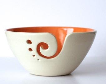 Orange Yarn Bowl / Knitting Bowl / Crochet Bowl /Orange and White Yarn Bowl / 6 inch Yarn Bowl / Made to Order