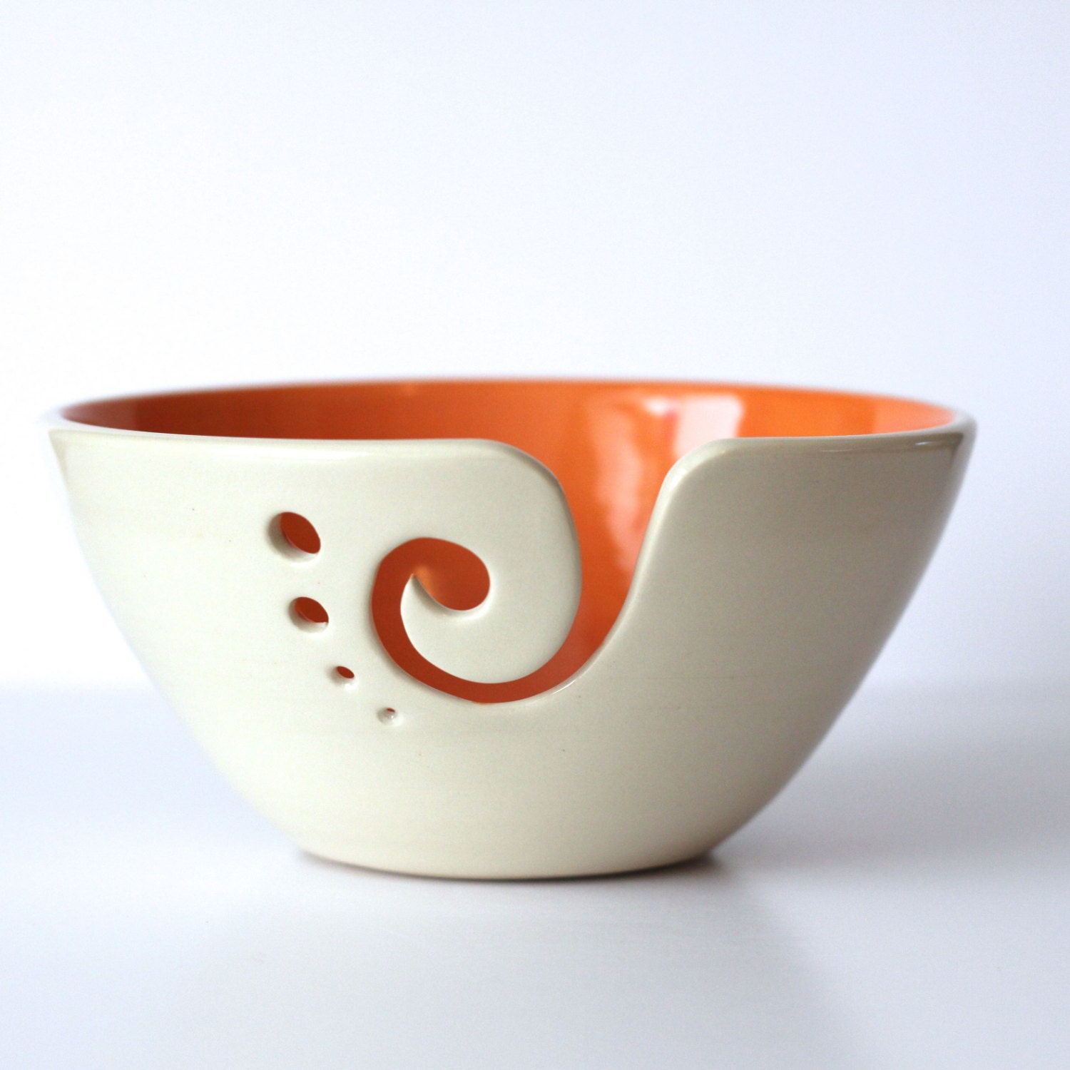 Orange Yarn Bowl / Knitting Bowl / Crochet Bowl by andersenpottery