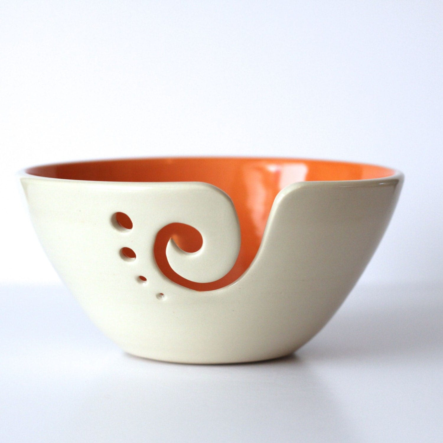 Crochet Yarn Bowl : Orange Yarn Bowl / Knitting Bowl / Crochet Bowl by andersenpottery