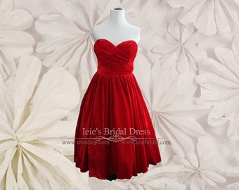 Vintage Inspired Strapless Red Velvet Tea Length Prom Evening Dress | Sherry