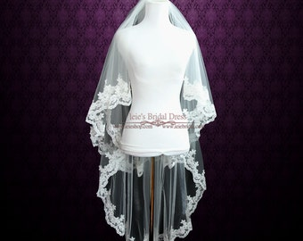 Two Tier Fingertip Veil with Pearl Beadings | Lace Wedding Veil | Bridal Veil | Fingertip Lace Veil | Short Wedding Veil | Veils | VG1041