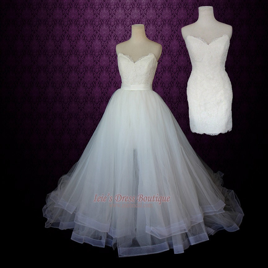 Convertible Wedding Gown Detachable Skirt: Strapless Two Piece Convertible Wedding Dress Lace By Ieie
