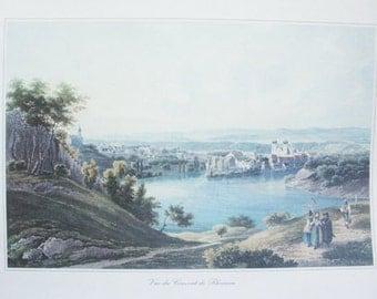 Vintage Art. Vintage Print. European Lithograph. Vue du Couvent de Rheinau. Zurich Switzerland.