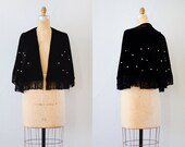 vintage cape • 1950s velvet cape • fringed cape • black velvet cape • Oh the Stars Cape