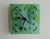 Spring Green Fused Glass Wall or Desk Clock, Gorgeous Variegated Green Color with dichroic accents, Original Signed Art Piece