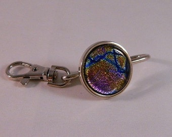 Key Finder Metal with Dichroic Fused Glass for Your Purse or Bag or Pocket