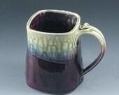 Handmade pottery mug purple and Fern porcelain by Mark Hudak
