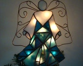 Teal Blue Mosaic Angel of Lights - Christmas tree topper