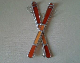 Orange Skis and Poles