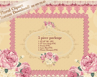 Lace Clipart, Rose Clipart, Spring Clipart, Lace Graphics