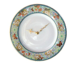 ON SALE!  Floral Butterfly Wall Clock - Teal and Brass Porcelain Plate Clock - Kitchen Clock - Unique Wall Clock - Wall Decor - 2311