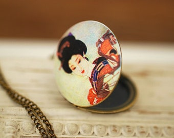 Geisha Photo Locket Bronze Necklace