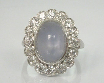 Antique Star Sapphire and Old European Cut Diamond Ring - STAR SAPPHIRE - Appraisal Included