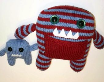 Red & Blue Monster Mom and Baby