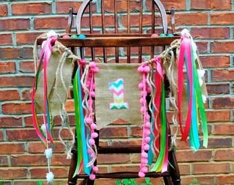 Pink BIRTHDAY Girl Banner-1st Birthday HIGH CHAIR Banner-Banners-Birthday Banners-Custom Banners-Party Banner-Photo Prop