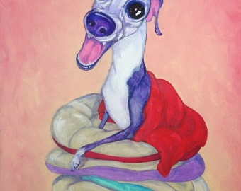 Italian Greyhound art, whippet art, greyhound art, courtsart