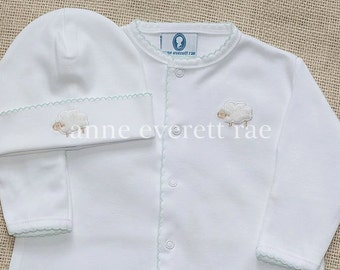 Unisex Baby Clothes-Coming Home Outfit-Lamb Converter Gown-Gender Neutral Baby Gift-Unisex Baby Shower Gift- Pima Cotton baby