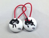 "1 1/8"" Size 45 Black and White Cat with Mouse Fabric Covered Button Hair Tie / Ponytail Holder / Party Favor (Set of 2)"