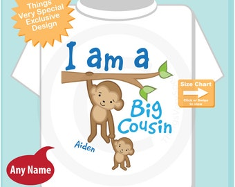 I am A Big Cousin Shirt or Onesie, Personalized Big Cousin Monkey Shirt with Baby Monkey - 11062014e