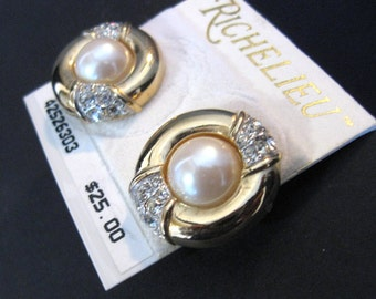 Vintage RICHELIEU Golden Disc Pierced Earrings with Crystals and Faux Pearls