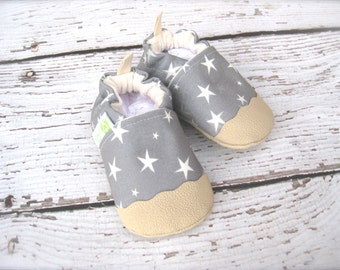Eco-Canvas Vegan Twinkle In Grey / non-slip soft sole baby shoes / made to order / babies toddler preschool stars
