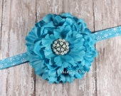 Large Turqouise Peony Flower on Blue Snowflake Foldover Elastic Headband - Baby Headband - Photo Prop - Newborn Headband - Baby Gift - Blue