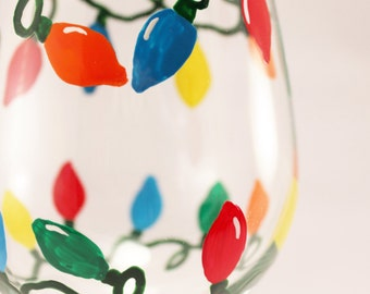 Christmas lights hand painted wine glass, retro lights, holiday glassware - single glass