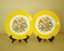 2 Limoges yellow plates, bright flowers, modern art, early mid-century 1937 Viktor Schreckengost, American Limoges Bermuda Triumph shape