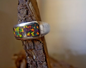 Sterling Silver Inlay Band with Lab Created Opal RF704