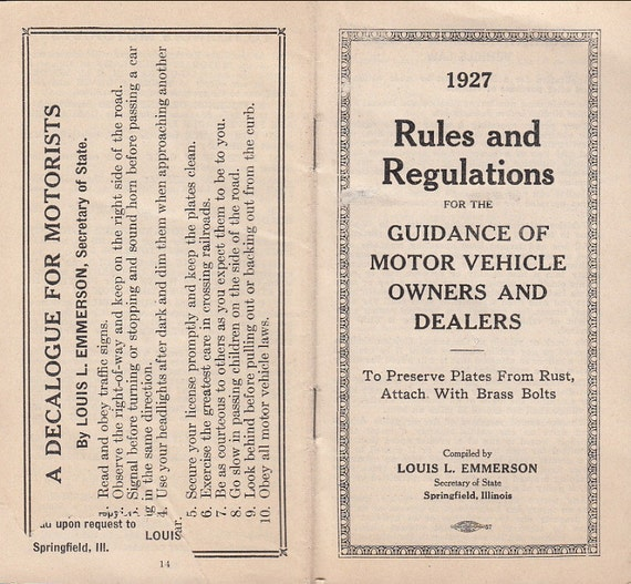 1927 Illinois Rules Regulation For Guidance Of Motor Vehicle