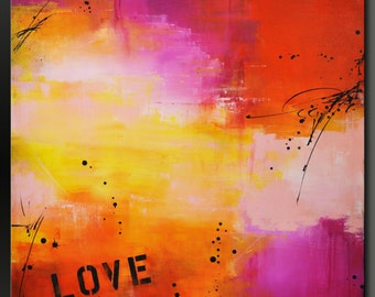 Urban Love - 36 x 36 - Abstract Acrylic Painting - Huge - Contemporary Wall Art
