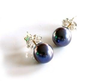 6mm black pearl stud earrings with solid sterling silver backs , small black pearl post earrings handmade by jewelry artist Melissa Pedersen