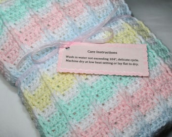 Baby Blanket - Hand Crocheted Baby Afghan - White, Pink, Blue, Yellow, and Green Pastel Stripes - Free U.S Shipping