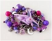 Eevee Espeon Charm Bracelet, Purple, Magenta, Chunky Stainless Steel Chain - Anime, Gamer Girl