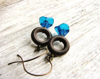 Flower Earrings Blue Glass Flowers Wood Ring Earrings Nature Inspired Jewelry Botanical Earrings Glass Flower Earrings Long Dangle Earrings