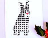 Holiday Boston Terrier Dog Reindeer Card for Christmas Greetings or Happy New Year Cards
