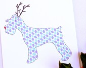 Holiday Schnauzer Dog Reindeer Card for Christmas Greetings or Happy New Year Cards