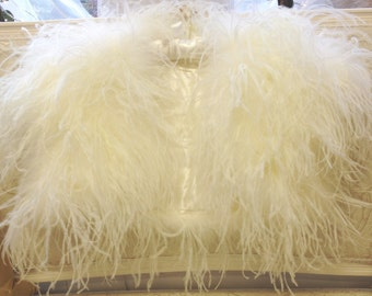 OPULENT OSTRICH FEATHER Wrap Shrug Jacket Bolero Cape -New Arrival - Ivory/Cream or Black