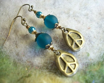 Peace Earrings, Retro Peace Sign, Bronze Peace Charm, Sentiment Earrings